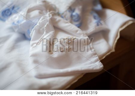 Christening set for baptism of a child in the Orthodox Church