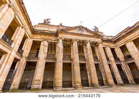 BOGOTA COLOMBIA - JUNE 14: View of the Capitolio Nacional building in Bogota Colombia on June 14 2016.