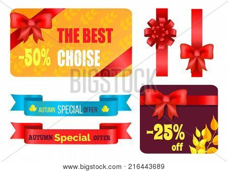 Gift cards design with decorative bows, best product certificates, autumn 2017 choice posters with percent sign vector illustration collections