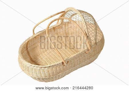 close up Wicker Basket Isolated on white