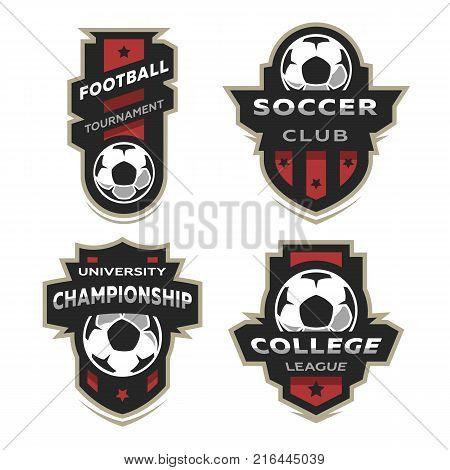 Set of Soccer Football logo, emblem. Design Templates