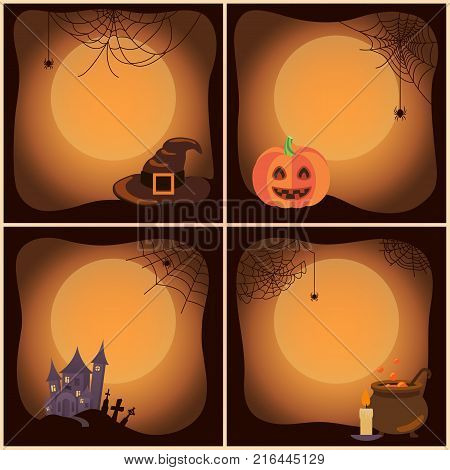 Halloween set of posters with full moon in centerpiece, images of pumpkin, spider and cobweb, house and cemetery, candle and pot vector illustration
