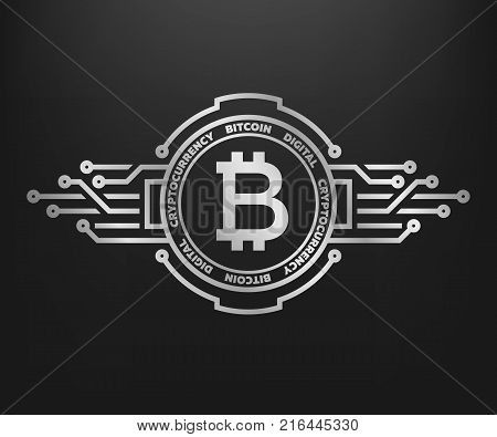 Bitcoin, abstract silver symbol of internet money. Digital Crypto currency symbol. Blockchain technology.