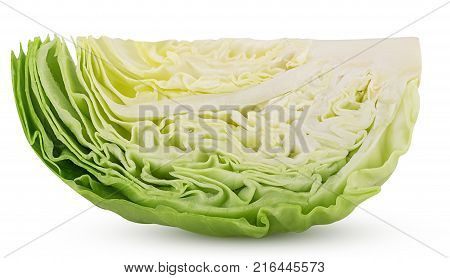 Green Cabbage One Cut In Half