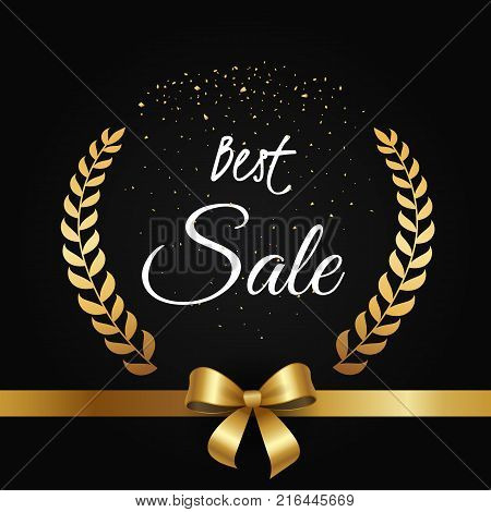 Best sale poster with gold olive branches framing text, golden bow on ribbon at the bottom of vector on black background with glittering elements