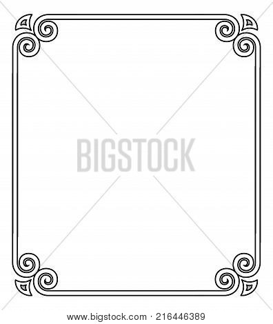 Thin black ornamental frame with curves and decorative elements on four corners of it, represented on vector illustration isolated on white