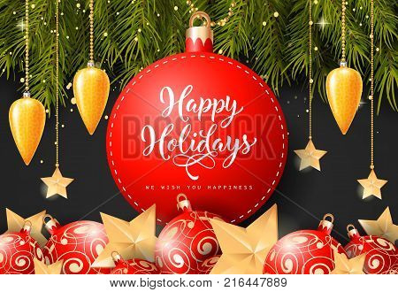 Happy holiday, happiness wishing lettering on bauble-shaped tag with fir sprigs and baubles on black background. Calligraphic inscription can be used for greeting cards, festive design, posters, banners.