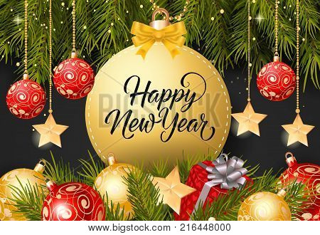 Happy New Year lettering on bauble-shaped tag with fir sprigs, baubles and present box on black background. Calligraphic inscription can be used for greeting cards, festive design, posters, banners