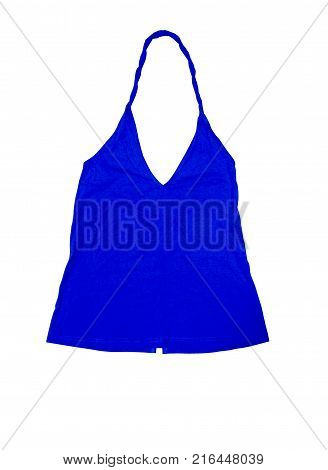 close up blue tank top on white background