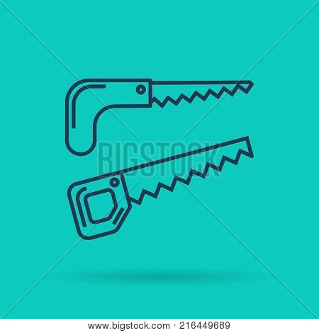 Vector isolated thin line icon of two garden saw and hacksaw on green background