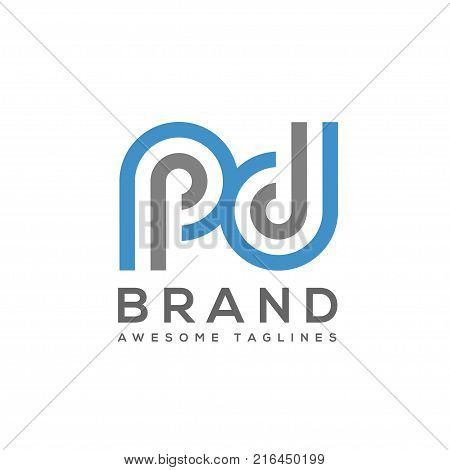 abstract Letter PD logo design template elements. abstract letter PD.Business corporate letter PD logo design vector. Simple and clean flat design of letter PD logo vector template.