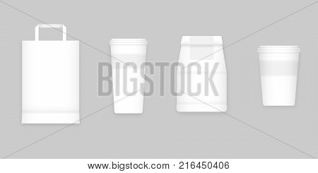 Coffee to go white blank mockups isolated on gray background vector illustration. Small and big take away coffee cups, to go mockup cappuccino cups, paper bags. Mockup coffee to go, graphic design elements for coffee shop.