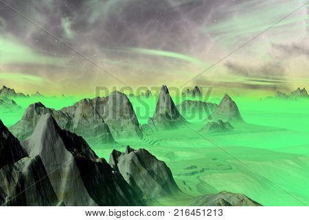 Alien Planet. Rocks And Sky. 3D Rendering