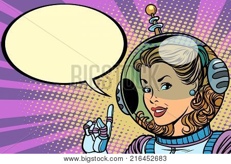 Science fiction woman astronaut hero. Comic book cartoon pop art retro vector illustration drawing