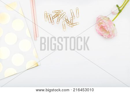 Workplace girl with pink and gold objects. Copy space