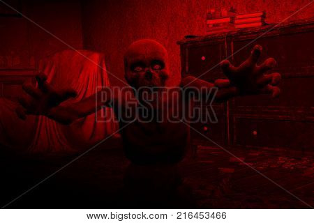 3d illustration of Undead or Zombie in haunted house