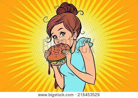 Overeating fast food. Woman secretly eating a Burger. Comic book cartoon pop art retro color illustration drawing