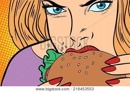 Hungry woman eats Burger. fast food. Comic book cartoon pop art retro color illustration drawing