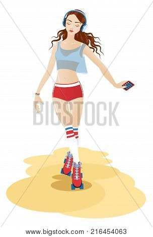 Young beautiful rollerskating girl with headphones and phone