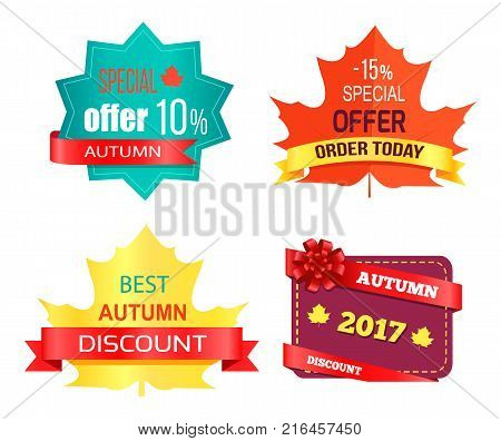 Best sale 2017 autumn discount buy now hot price promo posters with percent signs, round advertisement labels and tags inform of maple eaves vector