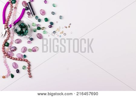 Glass Beads On White Background