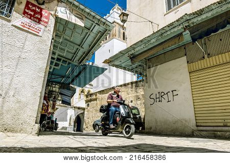 Sousse.Tunisia.24 may 2017.The inhabitants of Sousse in the narrow streets of the Medina old town