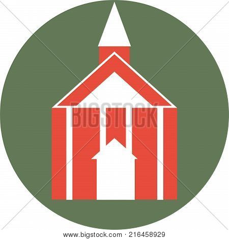 Church Logo Against Olive Background with Steeple and Columns