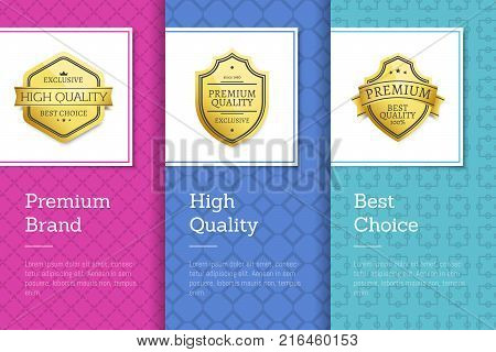 Premium brand high quality best choice golden labels set of logos design on colorful posters with text vector collection on abstract purple and blue