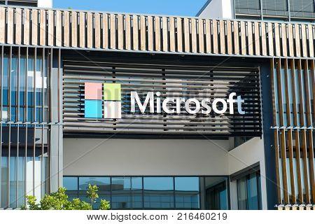 Microsoft Logotype On New Lisbon Office. Portugal
