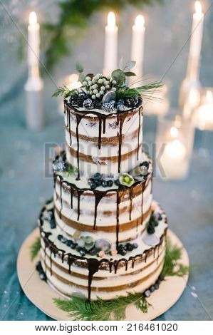 sweetness, cooking, holidays concept. feast cake composed of three tiers with delicious chocolate frosting, juicy blackberries, decorated with leaves and flowers of different plants
