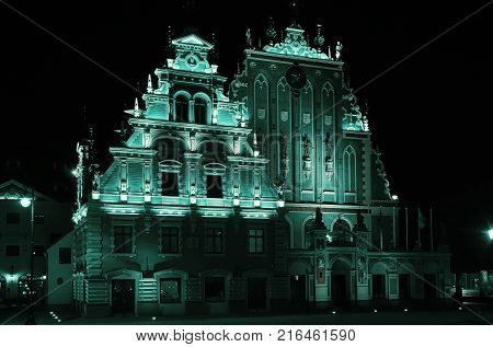 Restored Blackheads House in the City of Old Riga at Night