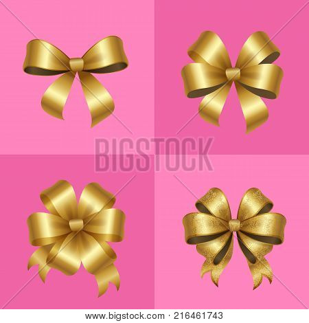 Gold decorative bows knots set vector illustration isolated on pink background. Present or gift elegant tied satin ribbon of gold in realistic design