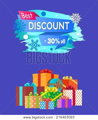 Best discount -30 advert text written on promo label with snowflakes on backdrop, pile of presents decorative wrapping paper isolated on blue vector