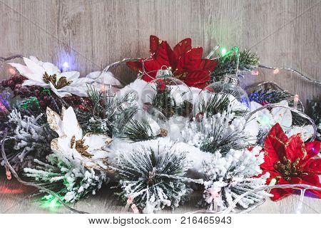 Christmas Decor. Christmas Or New Year Background: Christmas Flowers Poinsettia, Christmas Tree, Tre