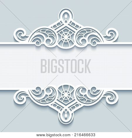 Vintage lace background with paper border decoration, vector divider, header, cutout ornamental frame template