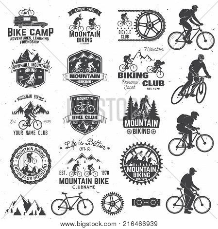 Set of Mountain biking clubs emblem with design element. Vector illustration. Concept for head badges, shirt, print, stamp. Mountain biking man riding on bikes silhouette. Outdoor sport activity.