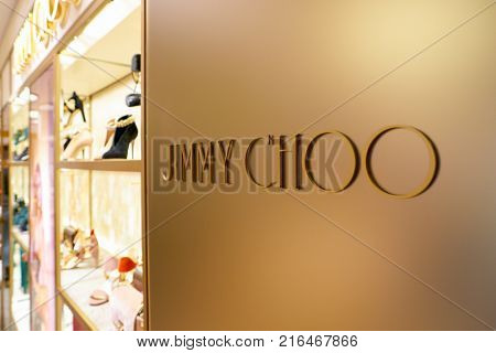ROME, ITALY - CIRCA NOVEMBER, 2017: close up shot of Jimmy Choo sign on display at a second flagship store of Rinascente in Rome.