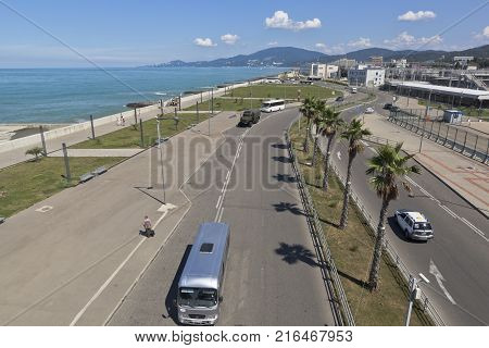Adler, Sochi, Krasnodar region, Russia - July 9, 2016: View of the street of the Enlightenment and promenade in the resort settlement Adler from the lookout Railway Station