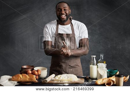 Cheerful African American Male Cook Presents Culinary Talents, Participates In Television Cooking Sh