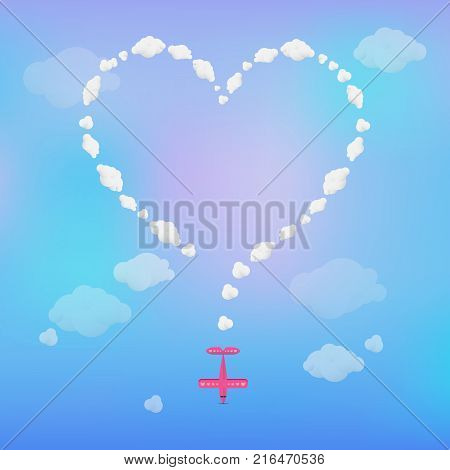 Plane drawing heart with smoke. Romance, confession, trail, vacation. Valentines day or travel concept. Can be used for greeting cards, posters, leaflets and brochure