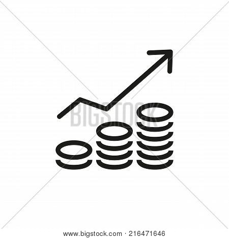 Icon of increasing revenue chart with coin stacks. Banking, economics, growth. Money concept. Can be used for topics like business, development, stock market