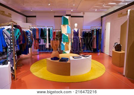ROME, ITALY - CIRCA NOVEMBER, 2017: Diane Von Furstenberg clothing on display at a second flagship store of Rinascente in Rome.