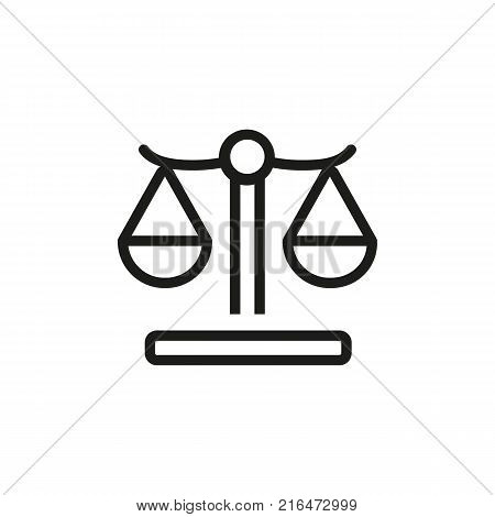 Icon of weighting scale.  Judgment, law, legislation. Balance concept. Can be used for topics like equality, justice, court