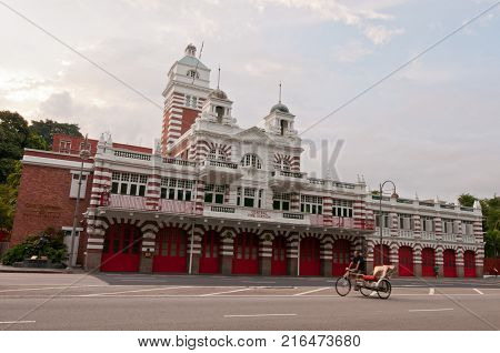 Singapore, 18 Sept 2011: The historical Central Fire Station with unique English designs since the early colonial days.