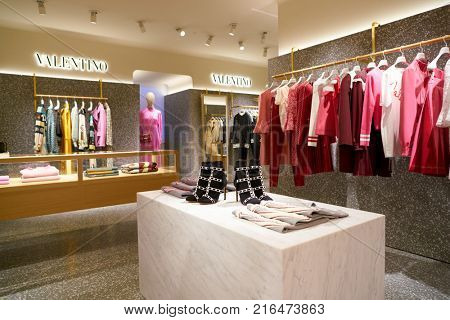ROME, ITALY - CIRCA NOVEMBER, 2017: Valentino clothing on display at a second flagship store of Rinascente in Rome.
