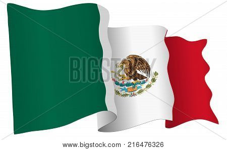 Mexico flag waving isolated on white in vector format. 3D illustration.