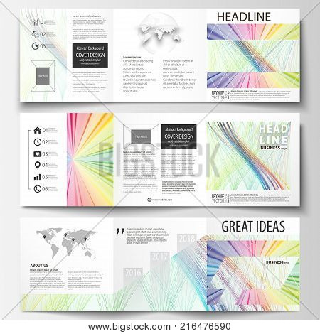 Set of business templates for tri fold square brochures. Leaflet cover, flat layout, easy editable vector. Colorful background with abstract waves, lines. Bright color curves. Motion design
