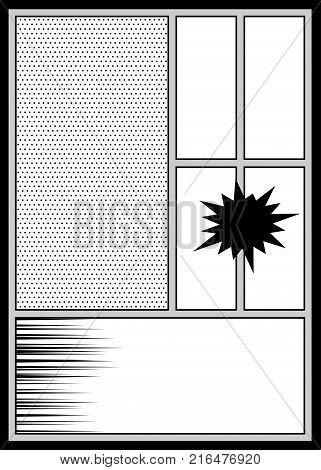 Comics book monochrome template background. Pop art black white empty backdrop mock up. Vector illustration halftone dot mockup for comic text. Silhouette boom explosion. Speech bubble balloon.