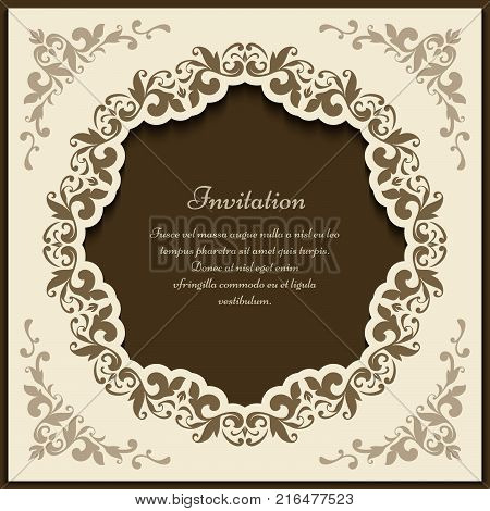Vintage gold frame with floral corner patterns and round cutout border ornament, vector packaging design, ornate gift card or wedding invitation template
