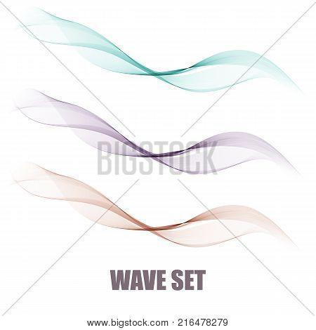 Vector set abstract wave pattern. Blue wave. Green wave. gray wave. Transparent wave set. Color wave. Smoke wave.